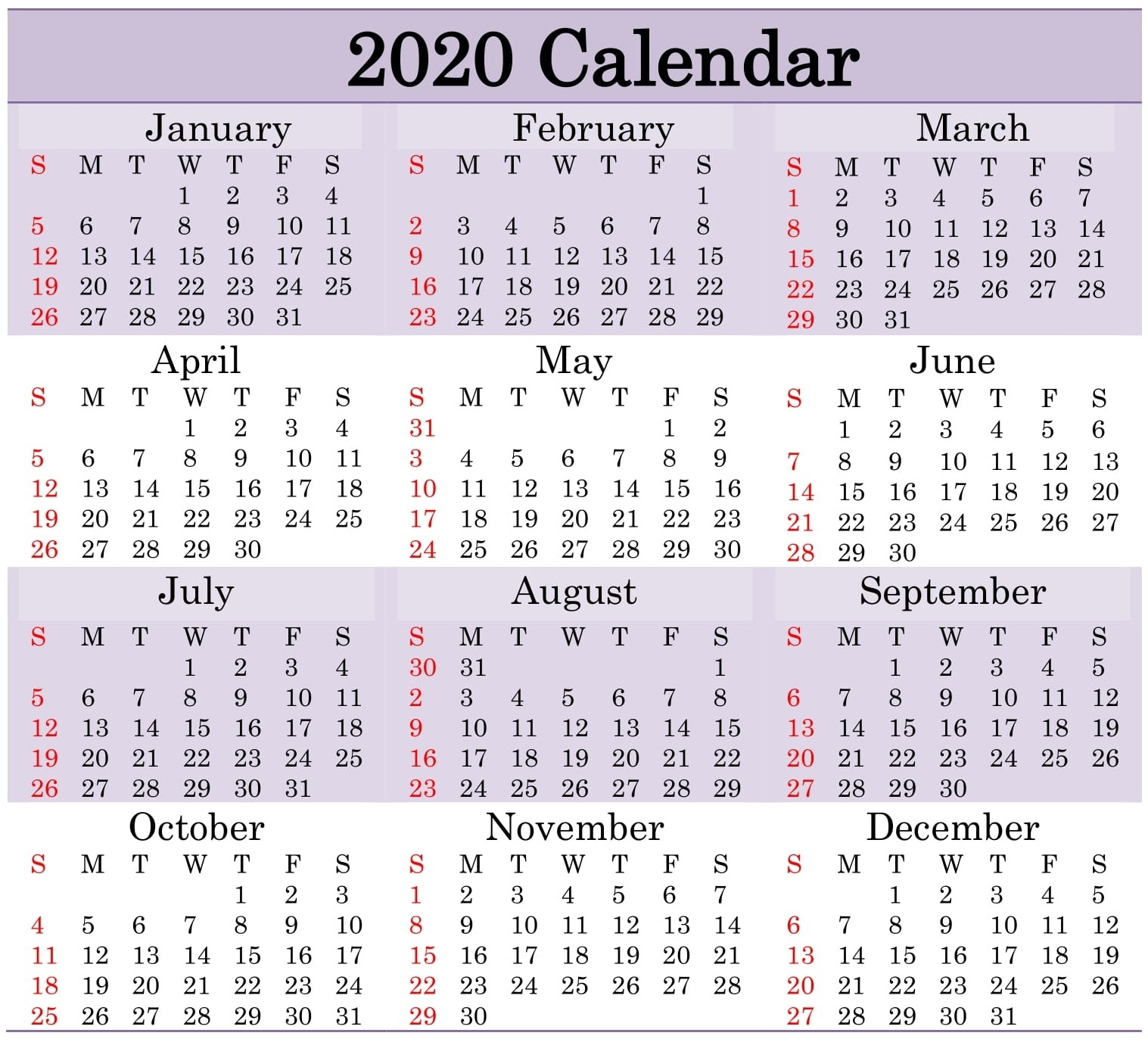 Printable 2020 Calendar Word Document - Latest Printable Printable Calendar With Numbered Days 2020