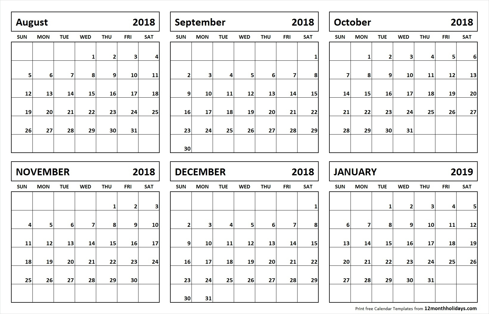 Printable Blank Six Month 6 Month Calendar August January Impressive Calenders With 6 Months Showing