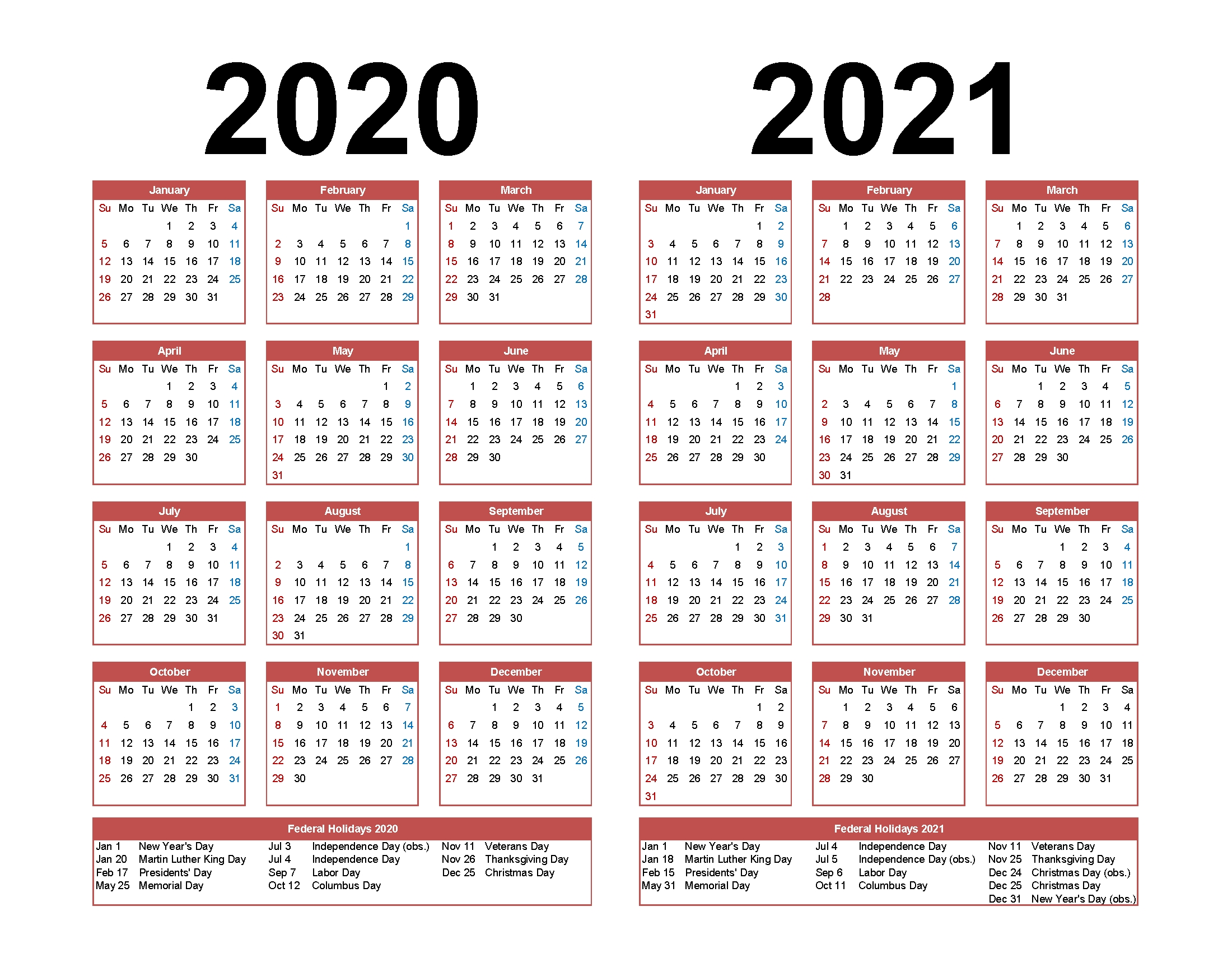 Printable Calendar 2020 2021 Two Year Per Page Free Pdf 2 Year Calendar 2020 And 2021