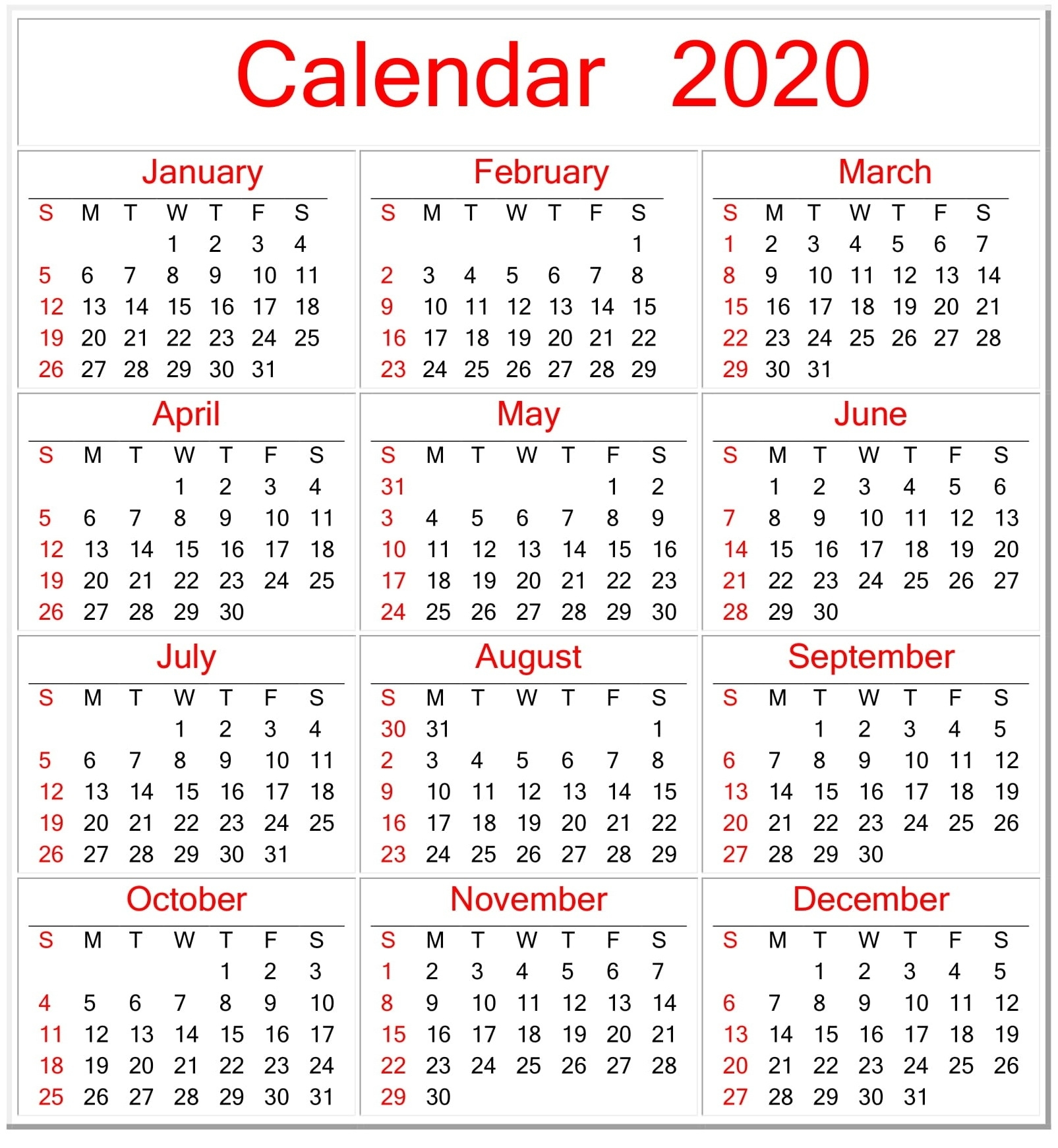 Printable Calendar 2020 Pdf Template – Free Latest Calendar Perky Year Calendar 2020 Printable