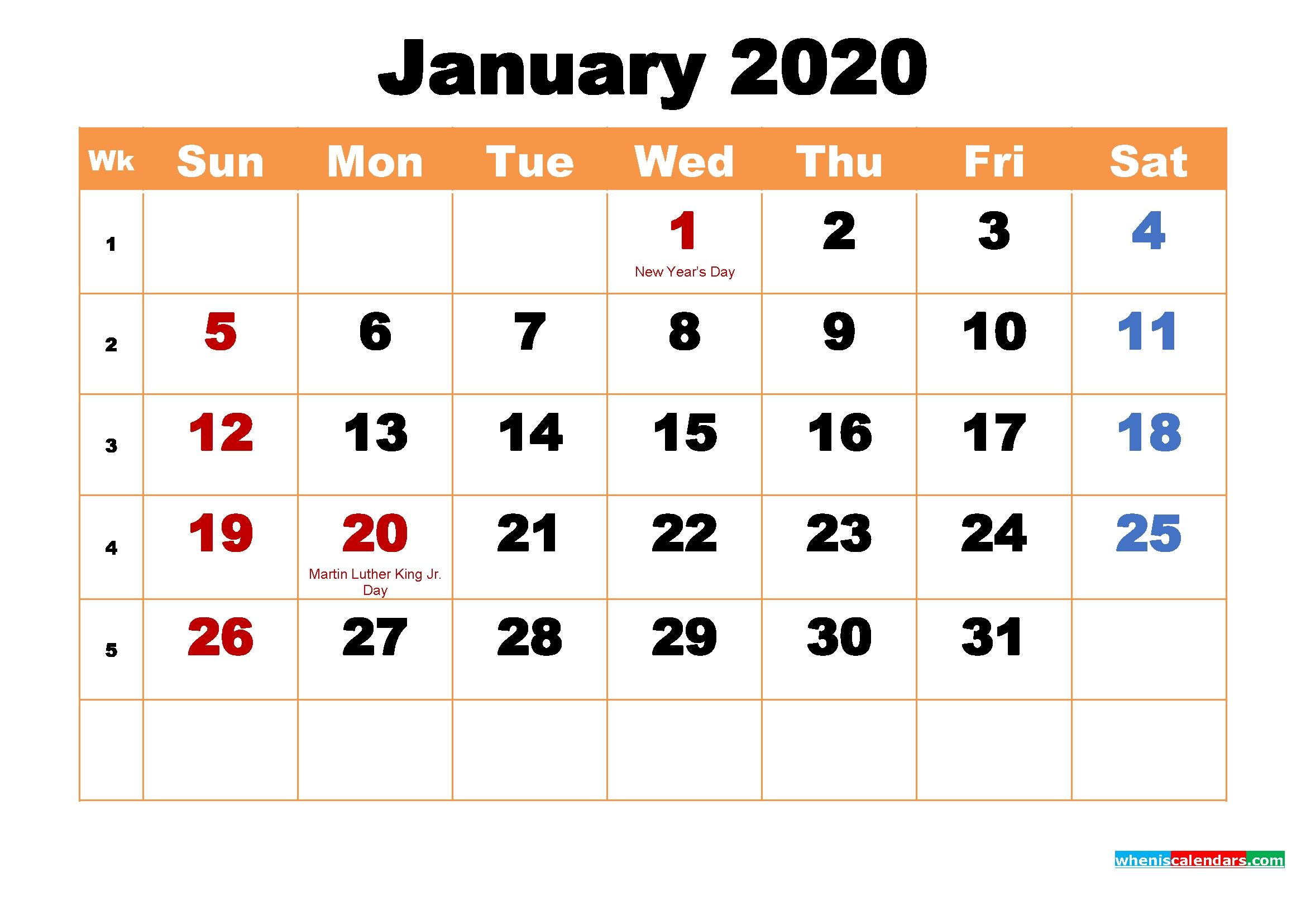 Printable Calendar For January 2020   Free Printable 2020 Incredible 2020 Printable Calendars Including Holidays And Jewish Holidays