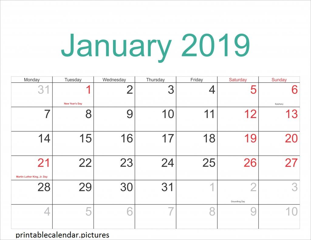 Printable Calendar January 2019 With Holidays   Monthly Incredible 2020 Printable Calendars Including Holidays And Jewish Holidays