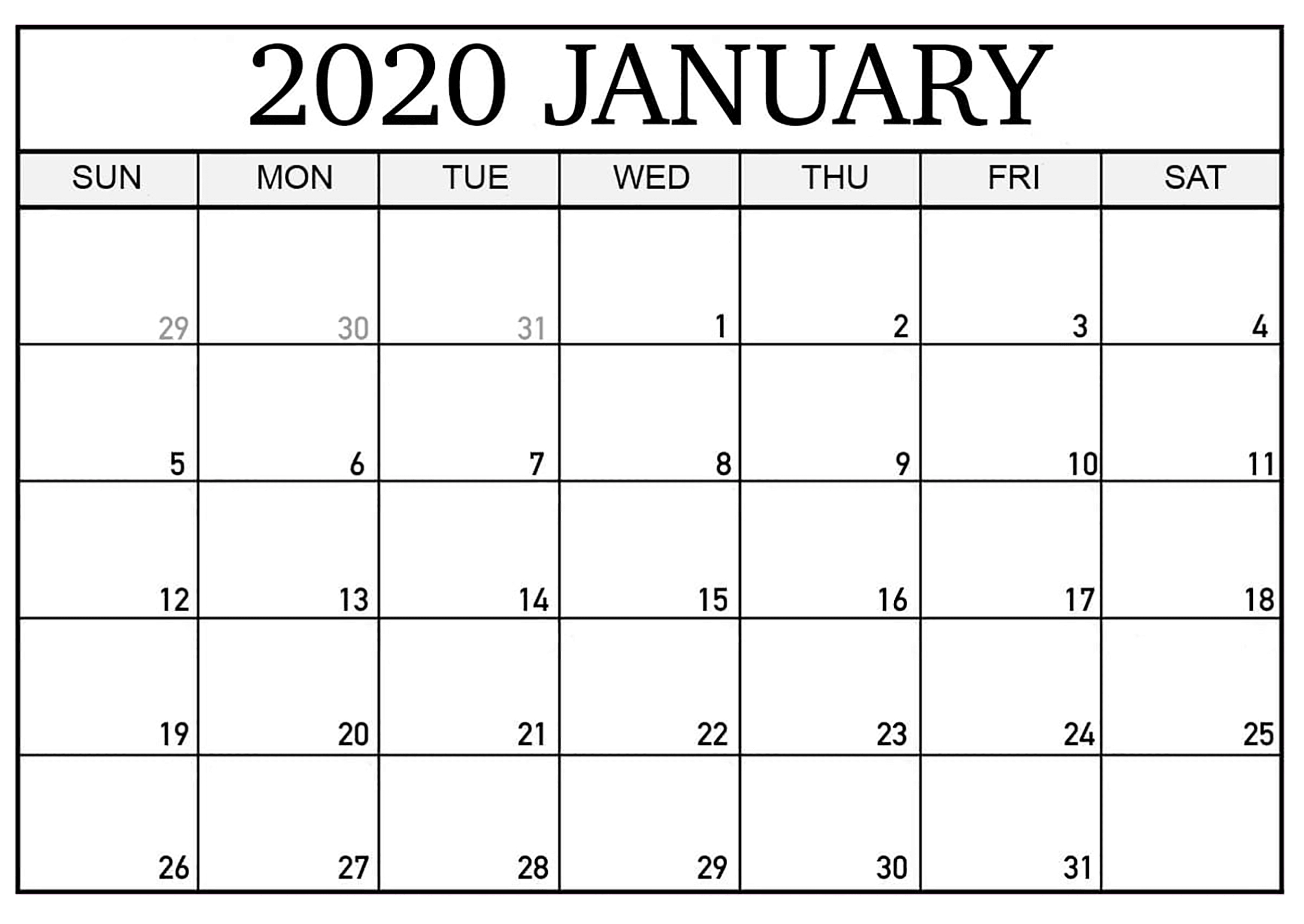 Printable Calendar January 2020 Pdf - 2019 Calendars For January 2020 Printable Calendar Canada