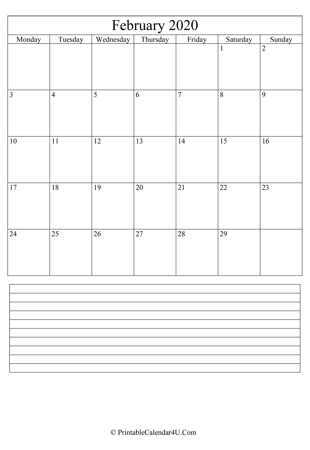 Printable February Calendar 2020 With Notes (Portrait) Impressive Ms Word 2020 Verticle Calendar