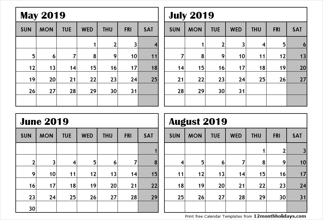 Printable Four Months Per Page 2020 Calendar | Example-4 Blank Calendar 2020 Four Months To Page