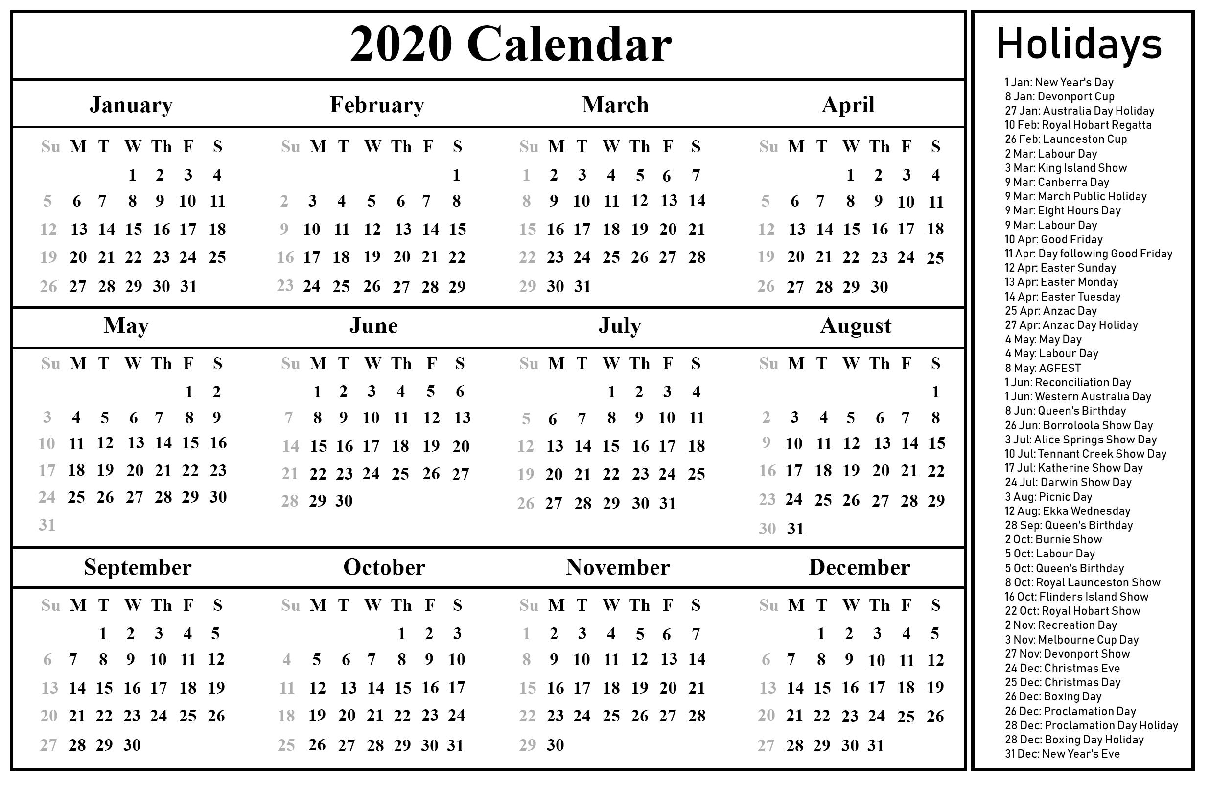 Printable Free Blank Australia 2020 Calendar [Pdf, Excel Remarkable 2020 Calendar India Pdf