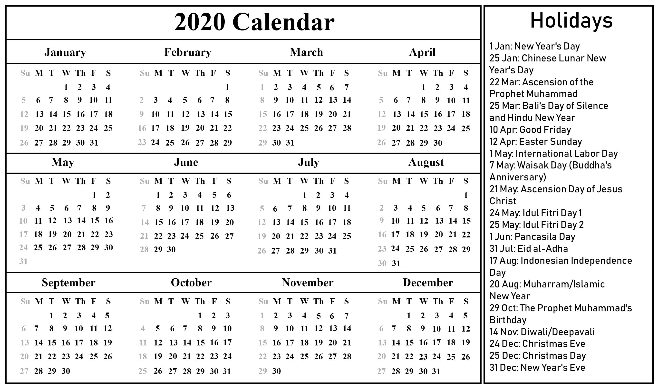 Printable Free Download Indonesia Calendar 2020 [Pdf, Excel Incredible Printable Chinese Lunar Calendar 2020