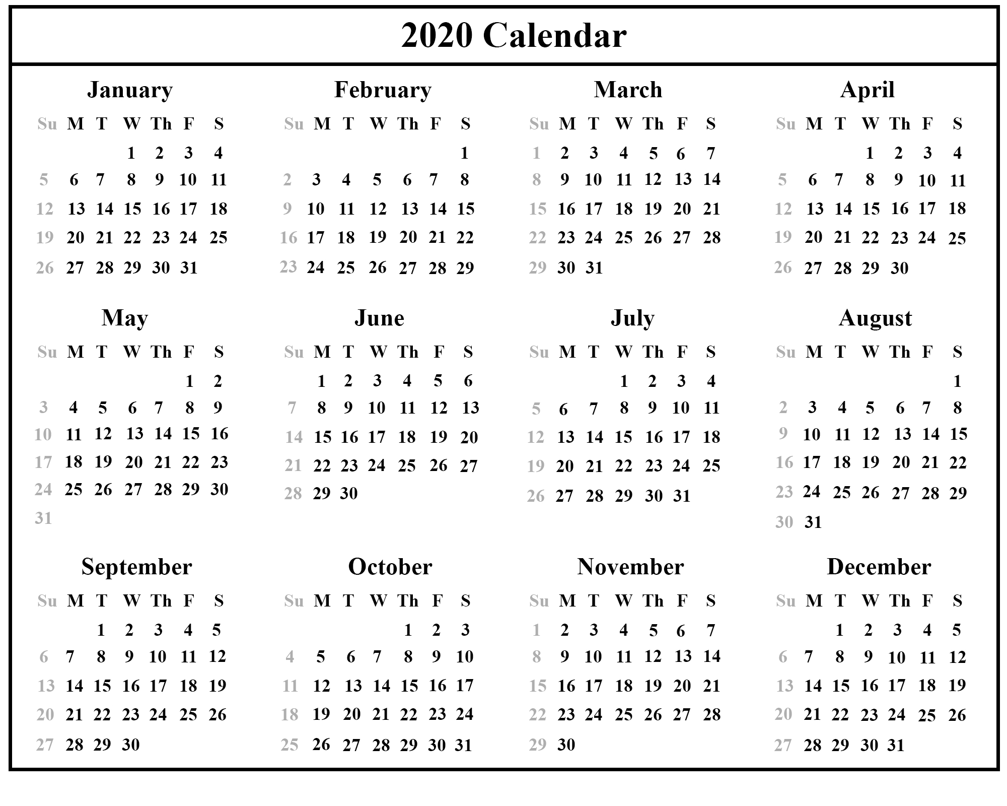 Printable Free Download Singapore Calendar 2020 [Pdf, Excel Year 2020 Calendar Singapore