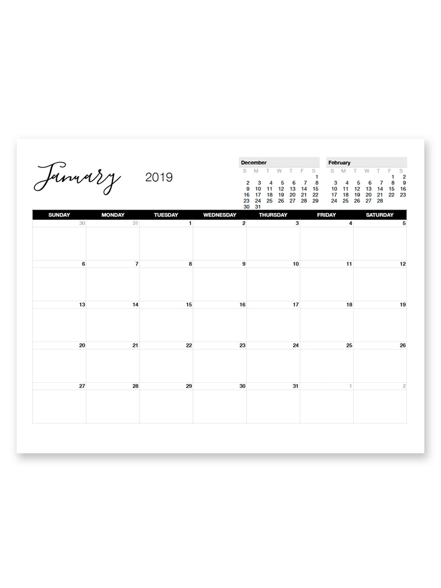Printable January 2019 Calendar | Printable Calendar Incredible 8.5 X 11 Printable Calendars