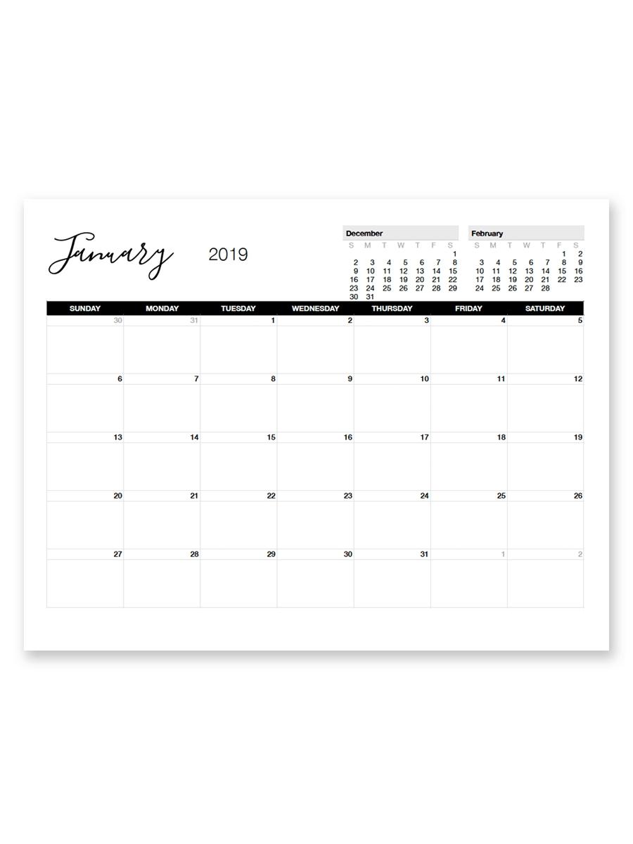 Printable January 2019 Calendar | Printable Calendar Remarkable 8.5 X 11 Calendar Print