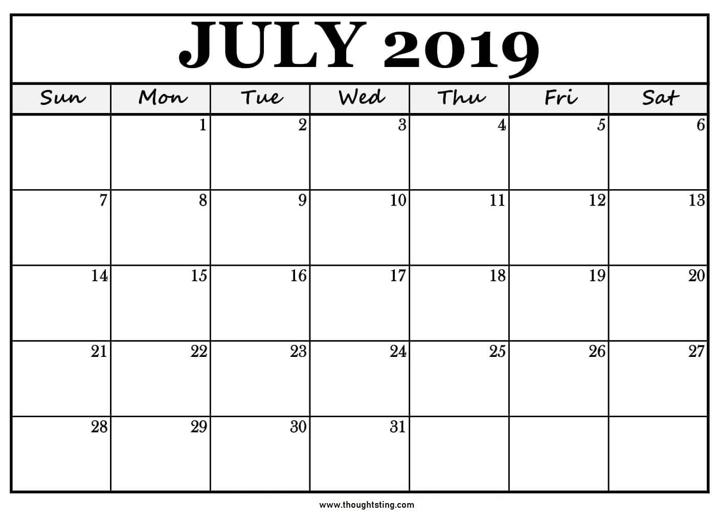 Printable July 2019 Calendar Large Boxes | Free Printable Free Very Large Squares Blank Printable Calendar 2020 Monthly