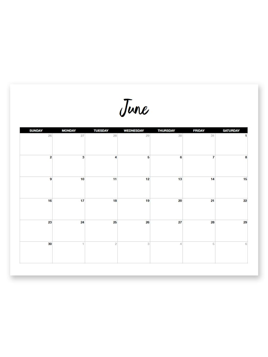 Printable June 2019 Calendar (Minimal 8.5 X 11 Calendar Print