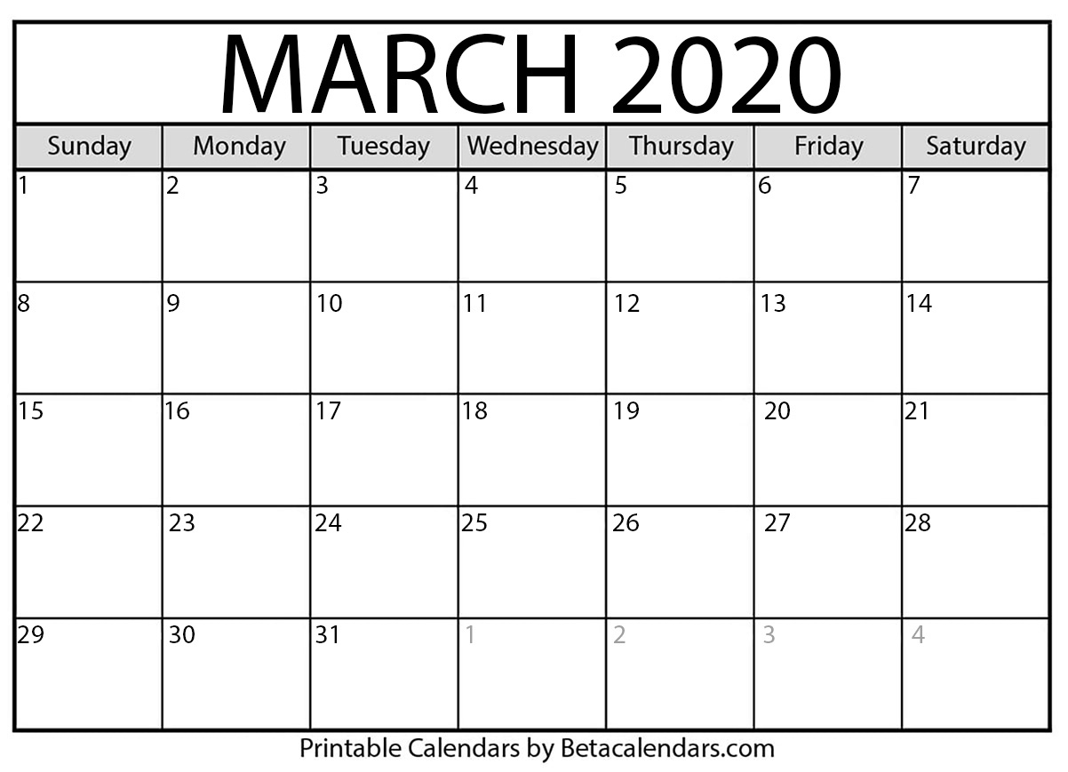 Printable March 2020 Calendar - Beta Calendars Printable Calendar With Numbered Days 2020
