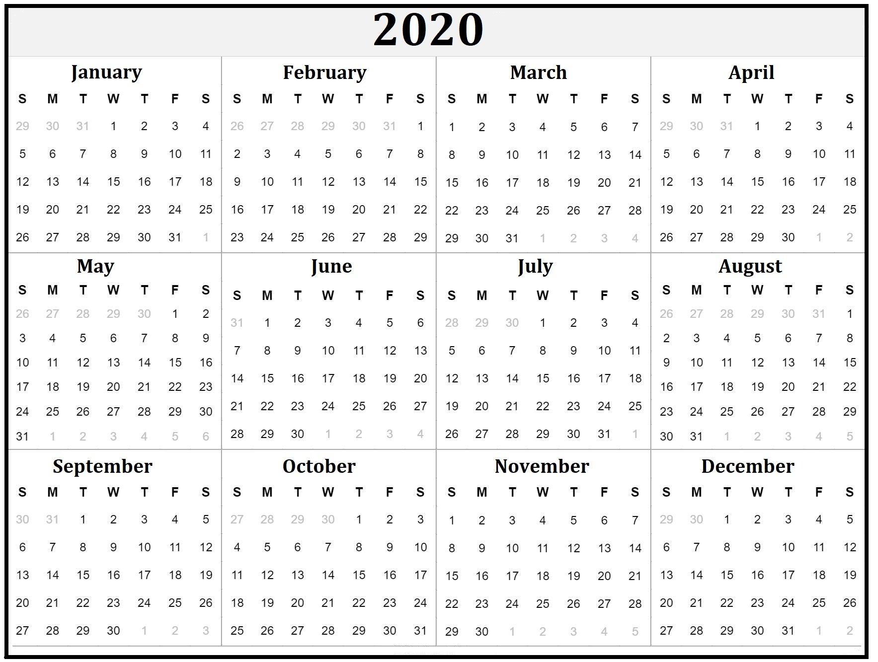 Printable Yearly Calendar 2020 - Calendars For The Whole Year