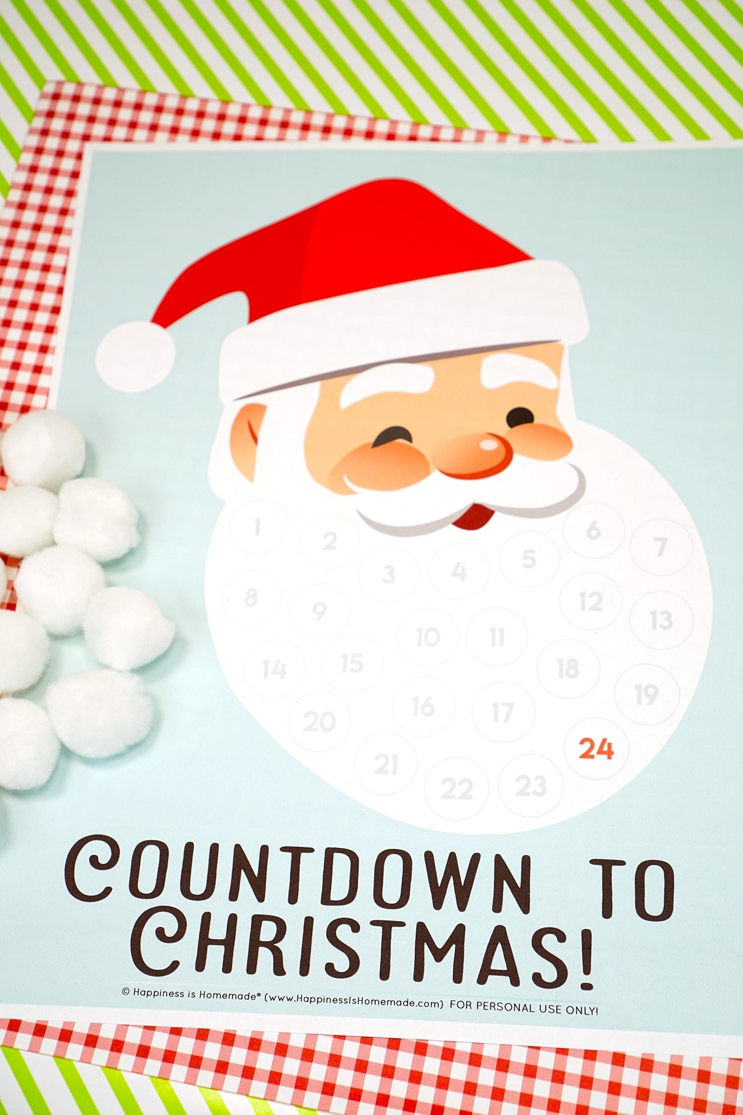 Santa Christmas Countdown Printable - Happiness Is Homemade Impressive Xmas Countdown 2020 Clendar Printable