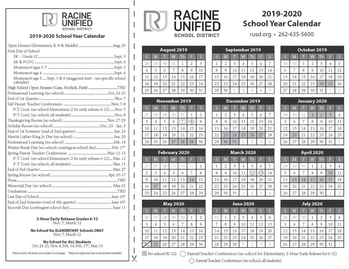 Select A Calendar | Racine Unified School District R-7 School District Calendar Jefferson County