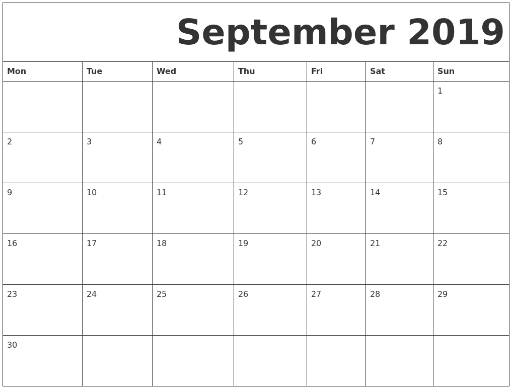 September 2019 Free Printable Calendar Exceptional Free Monthly Calendars Starting On Monday