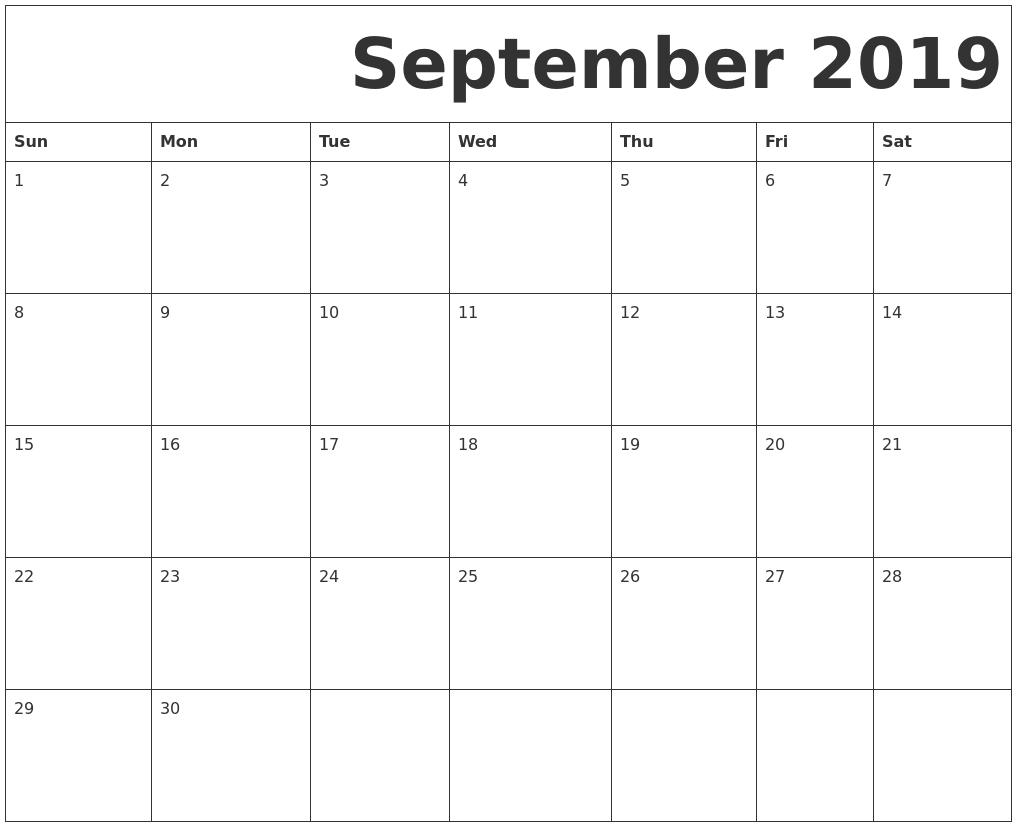 September 2019 Free Printable Calendar Free Monthly Calendars Starting On Monday