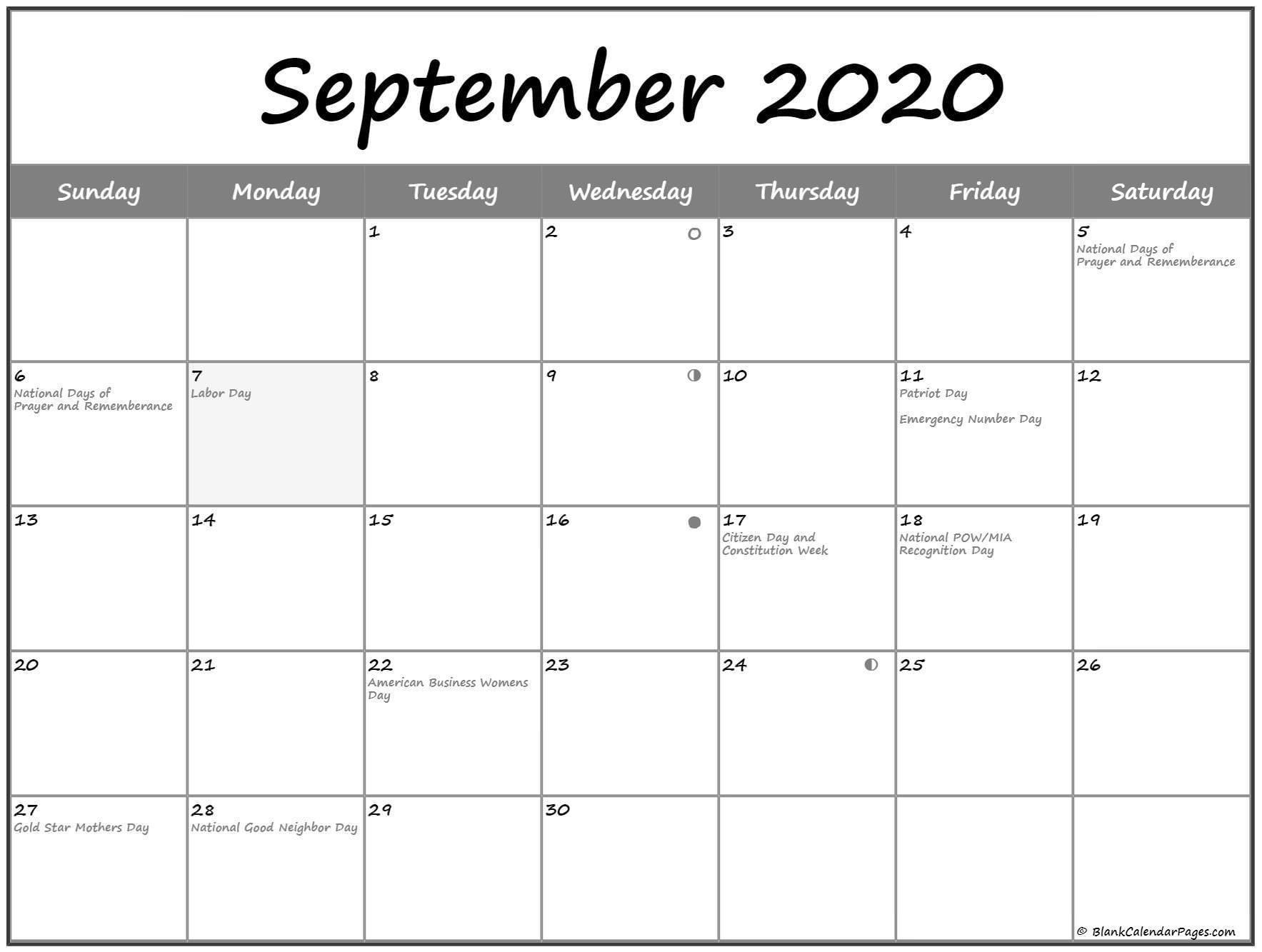 September 2020 Lunar Calendar   Moon Phase Calendar March 2020 Lunar Calendar