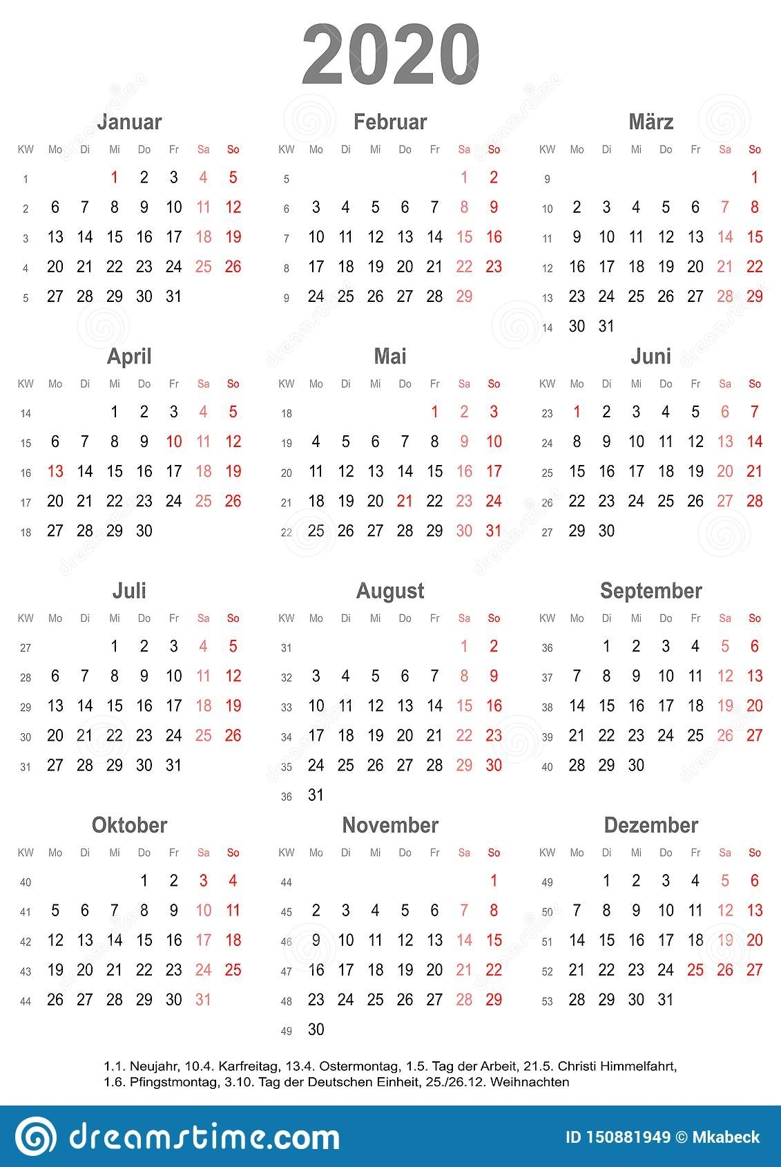 Simple Calendar 2020 With Public Holidays For Germany Stock Free Printable Calenders With Legal Holidays