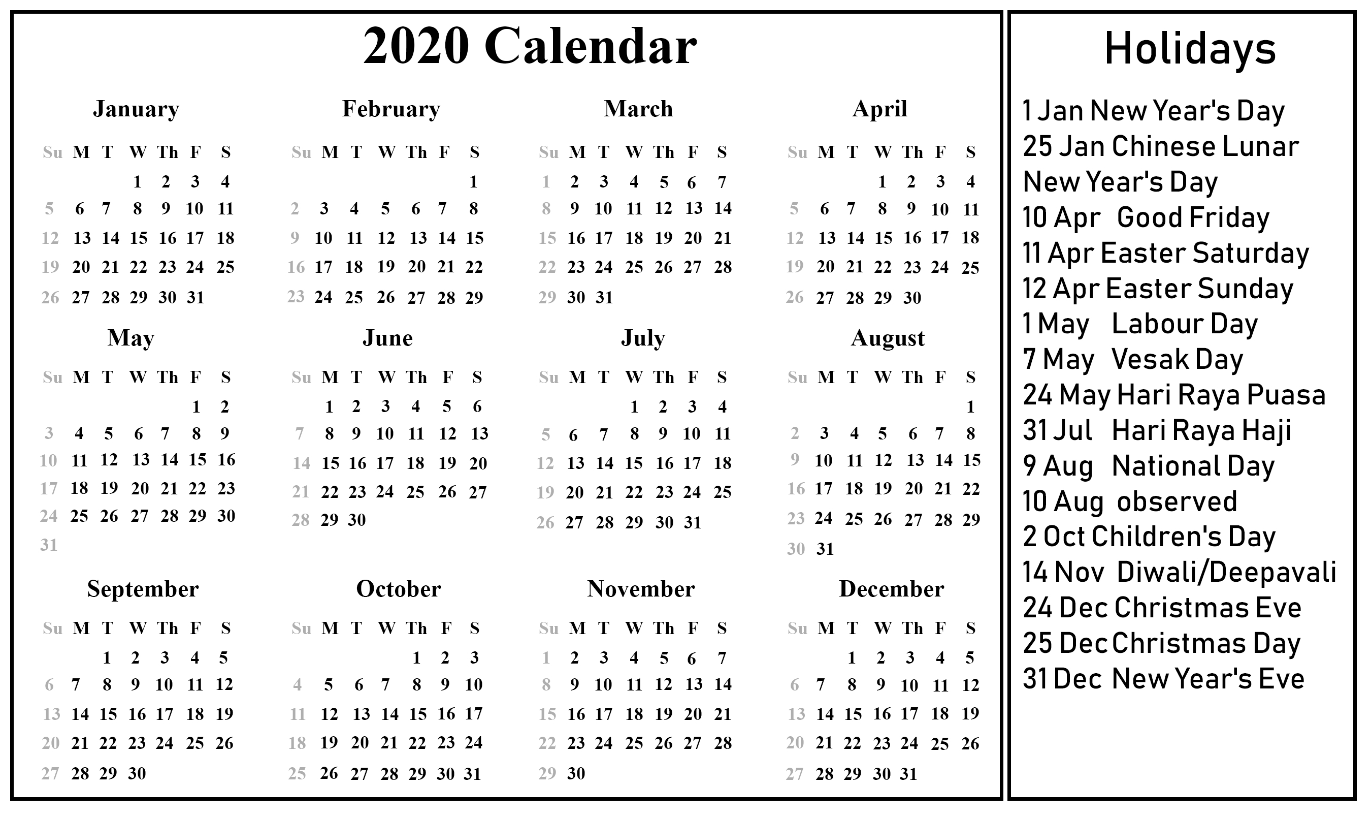Singapore 2020 Printable Holidays Calendar | Printable Year 2020 Calendar Singapore