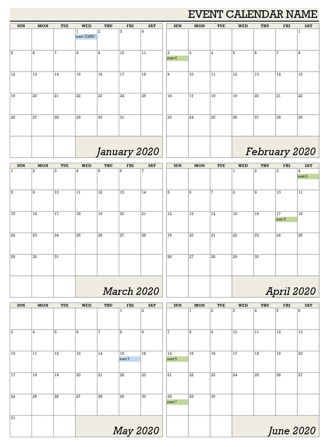 Six Month Calendar Template - Colona.rsd7 6 Month Fill In Calendar On One Page