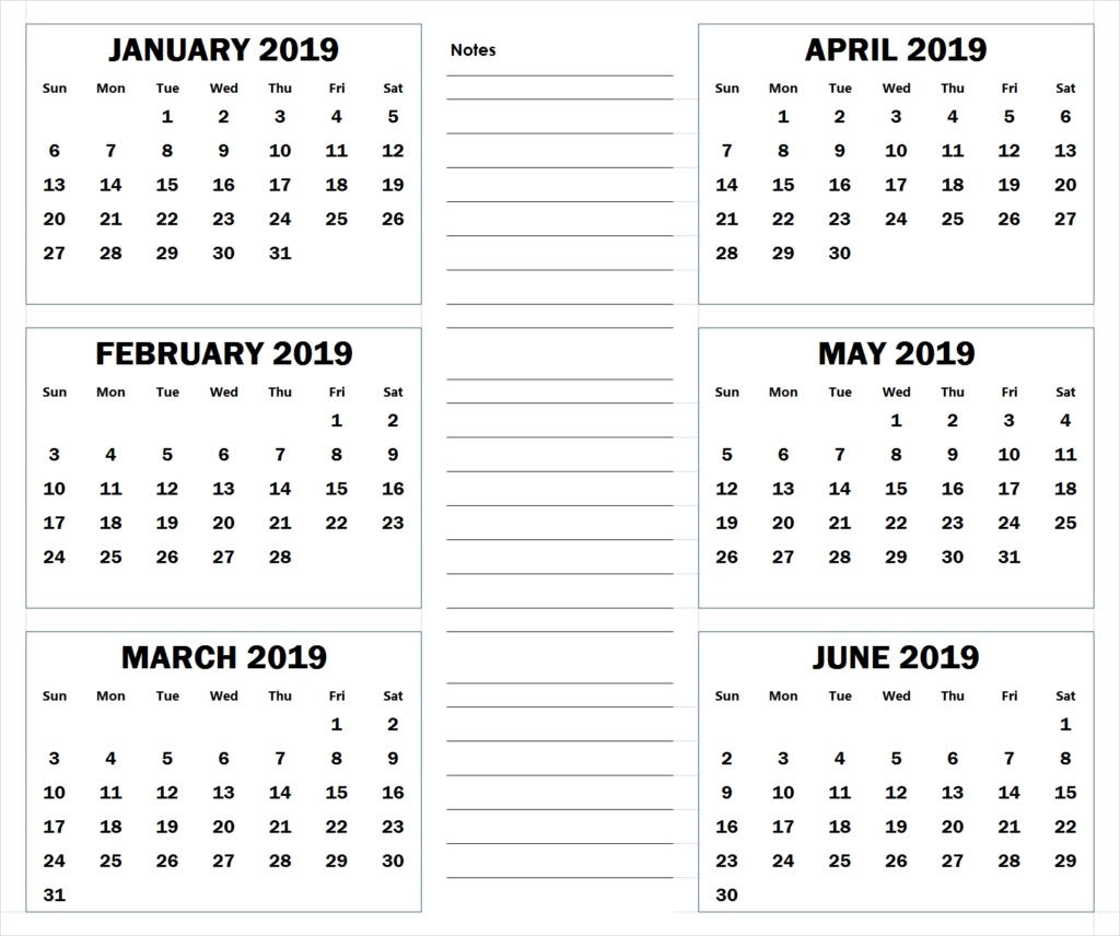 Six Month Calendars - Colona.rsd7 Calenders With 6 Months Showing