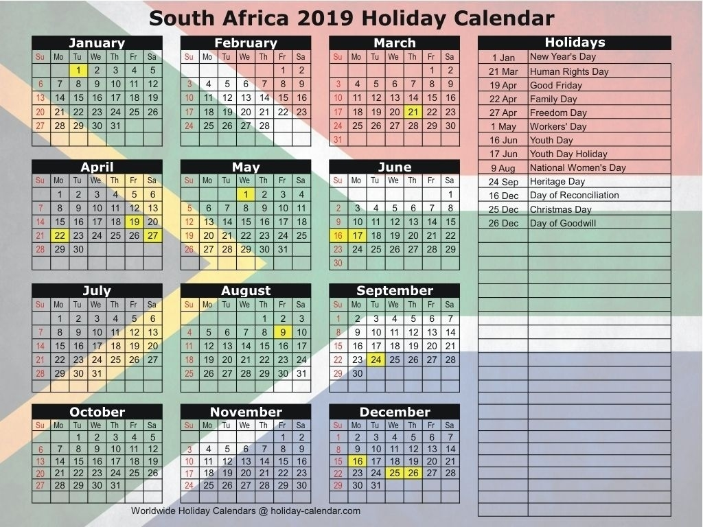 South Africa 2019 / 2020 Holiday Calendar Make It | Holiday South African Calendar 2020 Pdf
