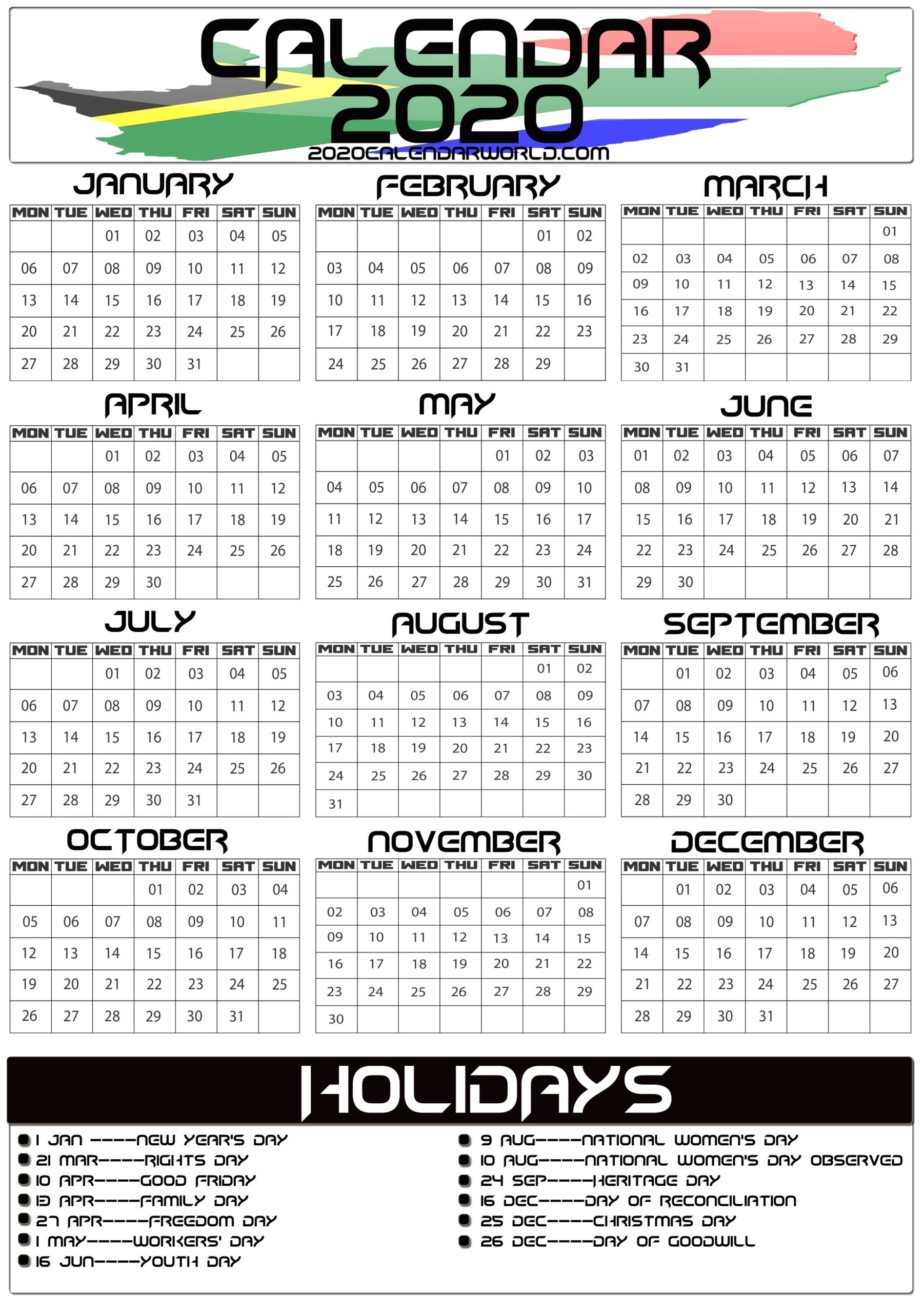 South Africa 2020 Calendar With Holiday Printable Template Year 2020 Calender - South Africa