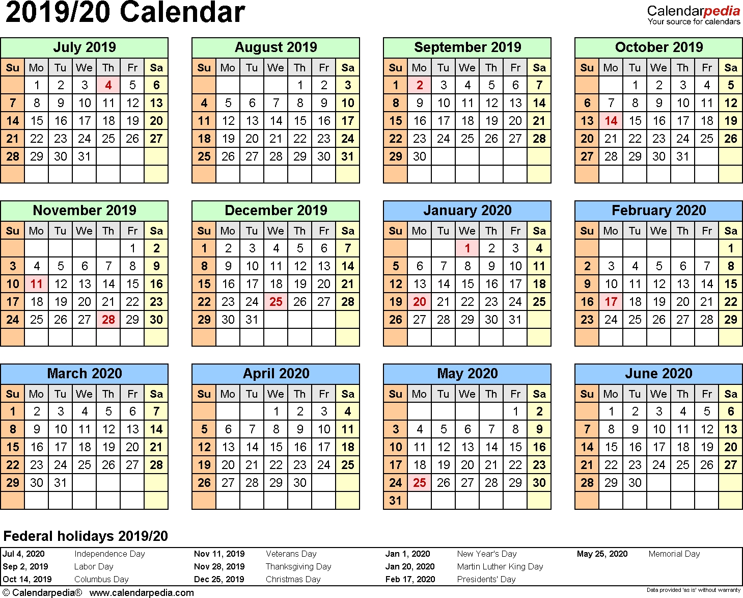 Split Year Calendars 2019/2020 (July To June) - Excel Templates Calendarpedia 2020 Printable South Africa