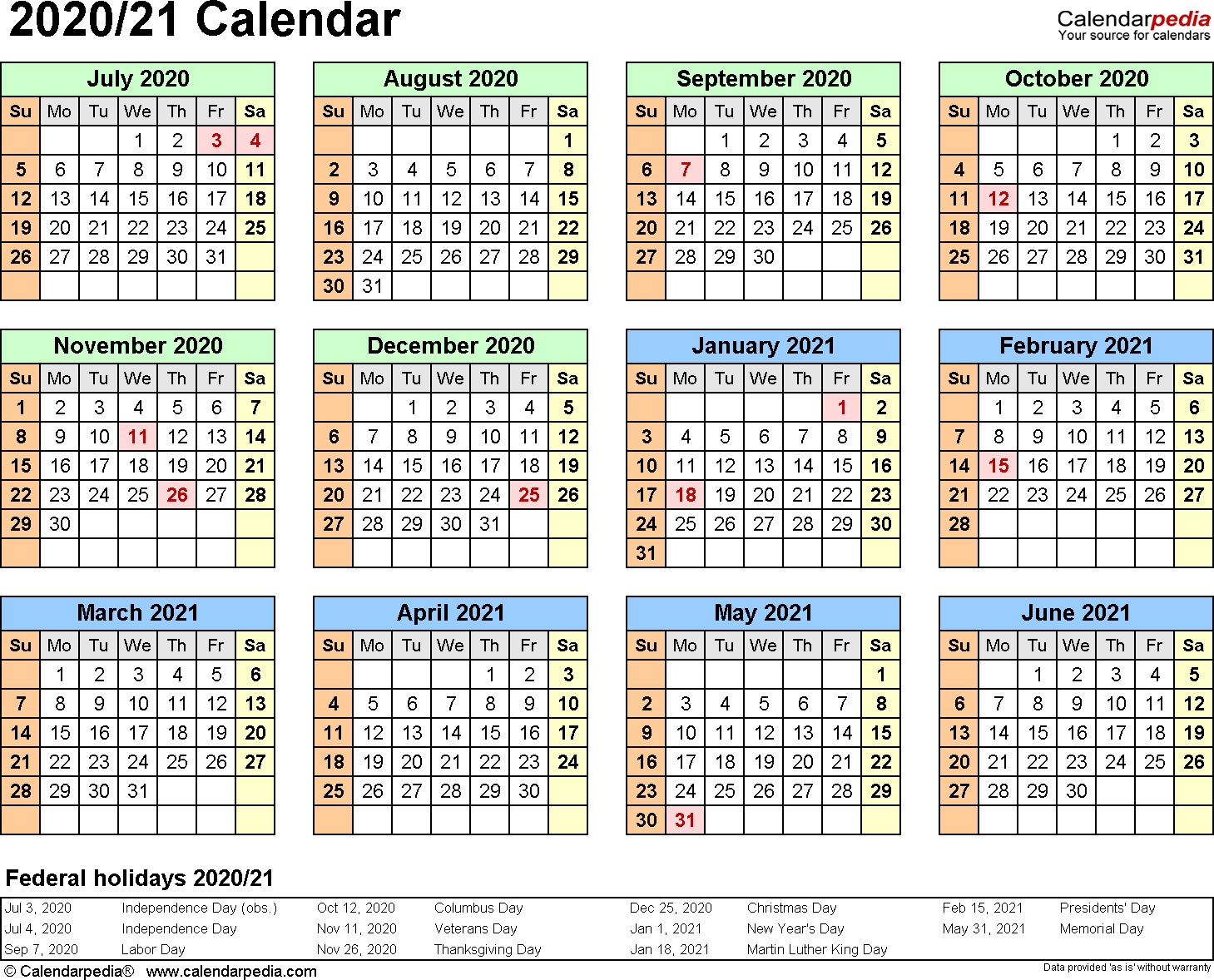 Split Year Calendars 2020/2021 (July To June) - Excel Templates 2 Year Calendar 2020 And 2021
