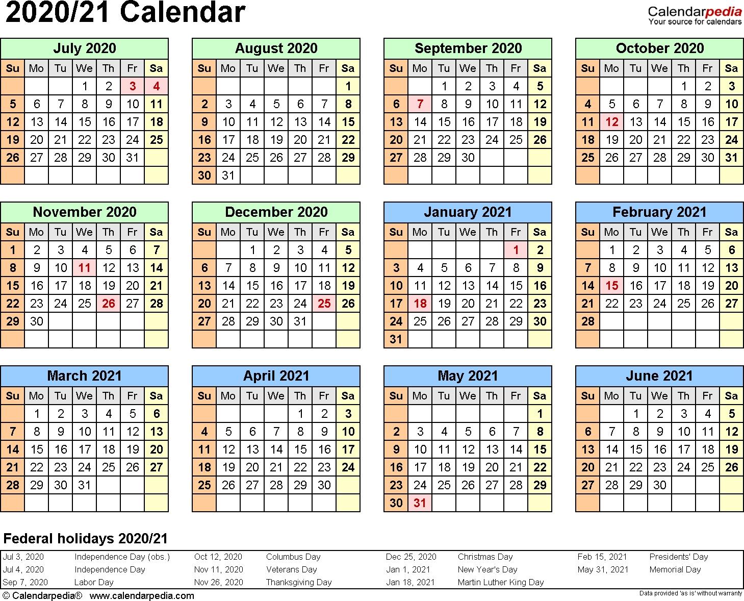Split Year Calendars 2020/2021 (July To June) - Word Templates Perky Calendarpedia 2020 Printable South Africa