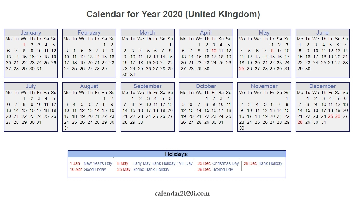Uk 2020 Calendar Printable, Wallpapers, Holidays, Pdf, Excel 2020 Calendar With Bank Holidays Uk