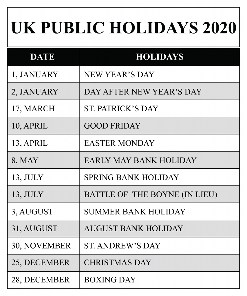 Uk Public Holidays 2020 Calendar | Uk Holidays 2020 Extraordinary 2020 Calendar With Bank Holidays Uk