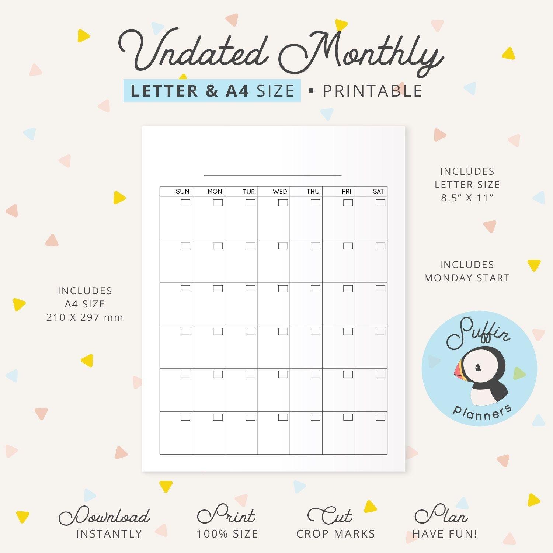 Undated Monthly Calendar Binder Printable, A4 & Letter Extraordinary Printable Binder Monthly Calender Blank