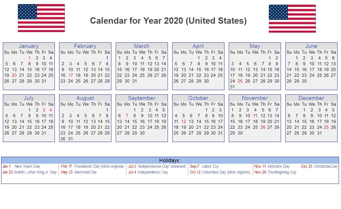 Us 2020 Holidays Calendar | Calendar 2020, Monthly Calendar 2020 Calendar Holidays Usa