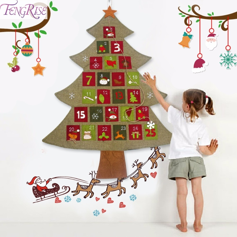 Us $7.3 17% Off|Fengrise Christmas Advent Calendar Hanging Felt Xmas  Countdown Calendar Christmas Decorations For Home Happy New Year 2020  Decor-In Perky Countdown To Christmas Calendar 2020