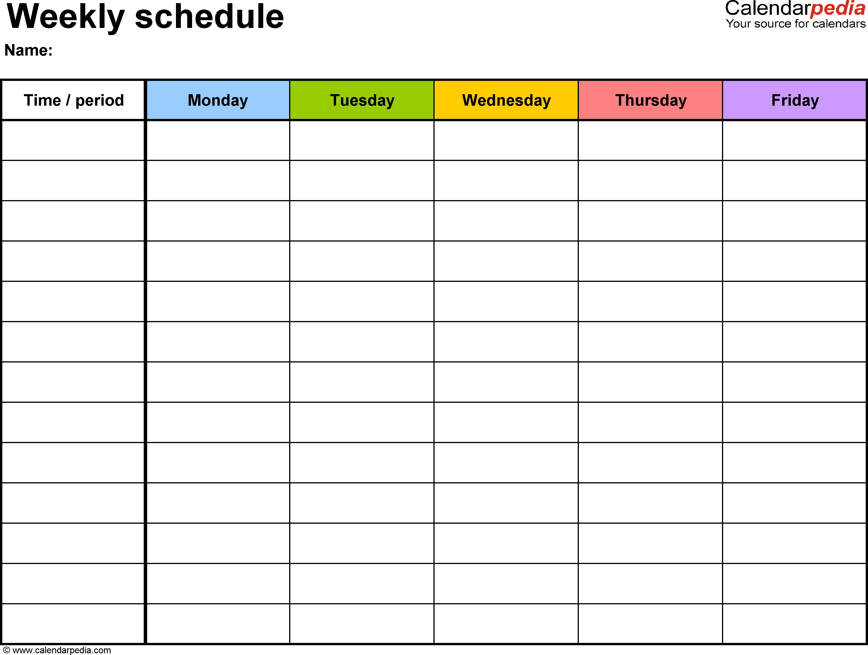 Weekly Schedule Template For Word Version 1: Landscape, 1 Blank Monday Through Friday Schedule Word
