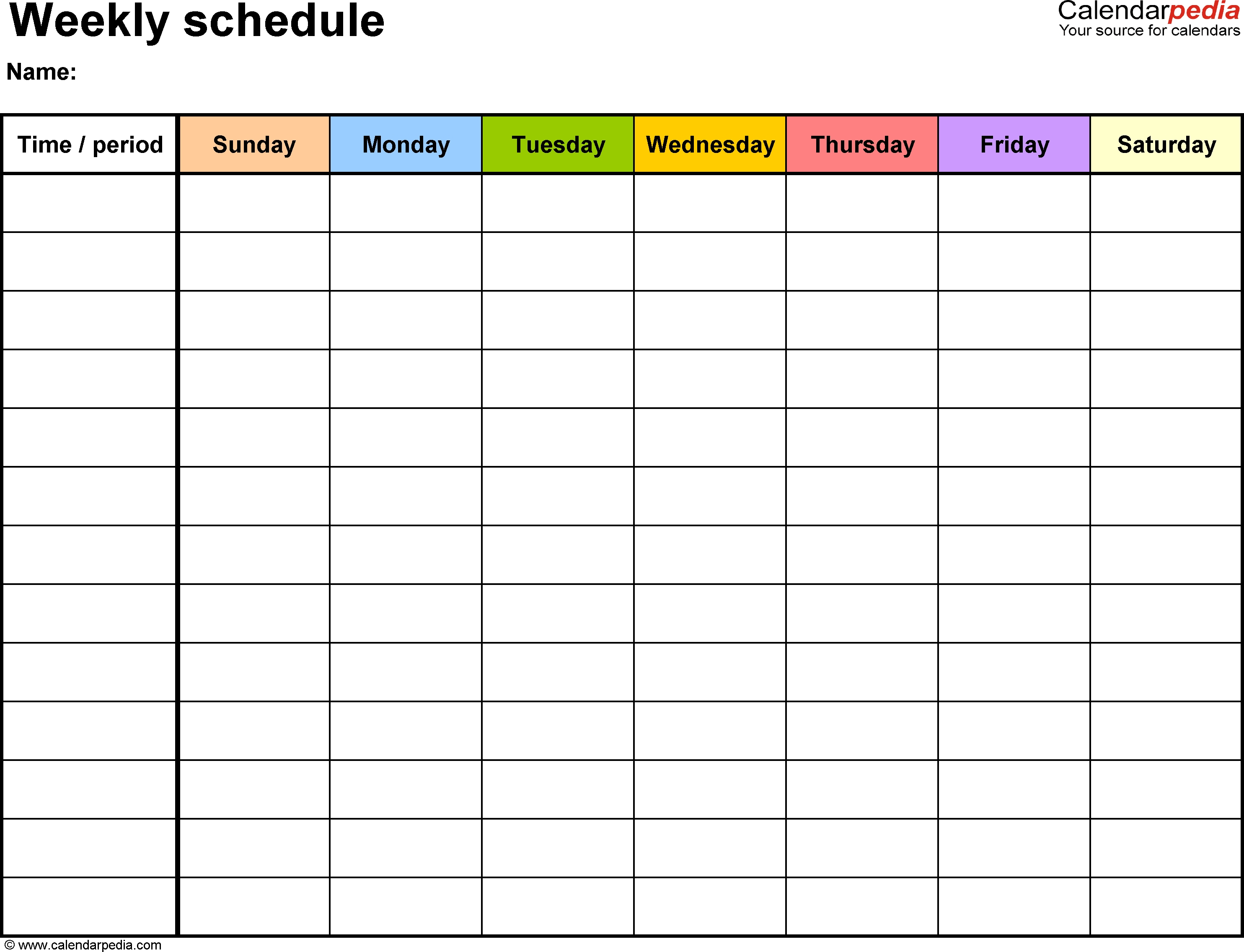Weekly Schedule Template For Word Version 13: Landscape, 1 Blank Monday Through Friday Schedule Word