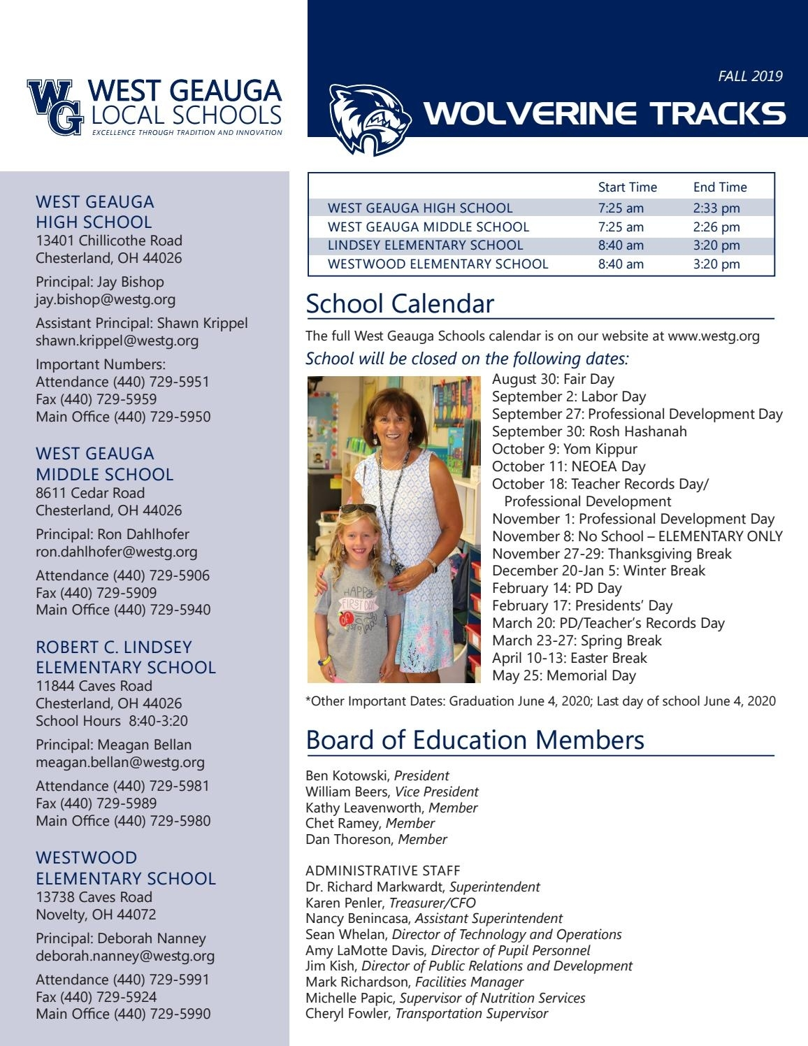 Wolverine Tracks 2019 - Fall Edition By Westg - Issuu Remarkable West Geauga School Calendar 2017