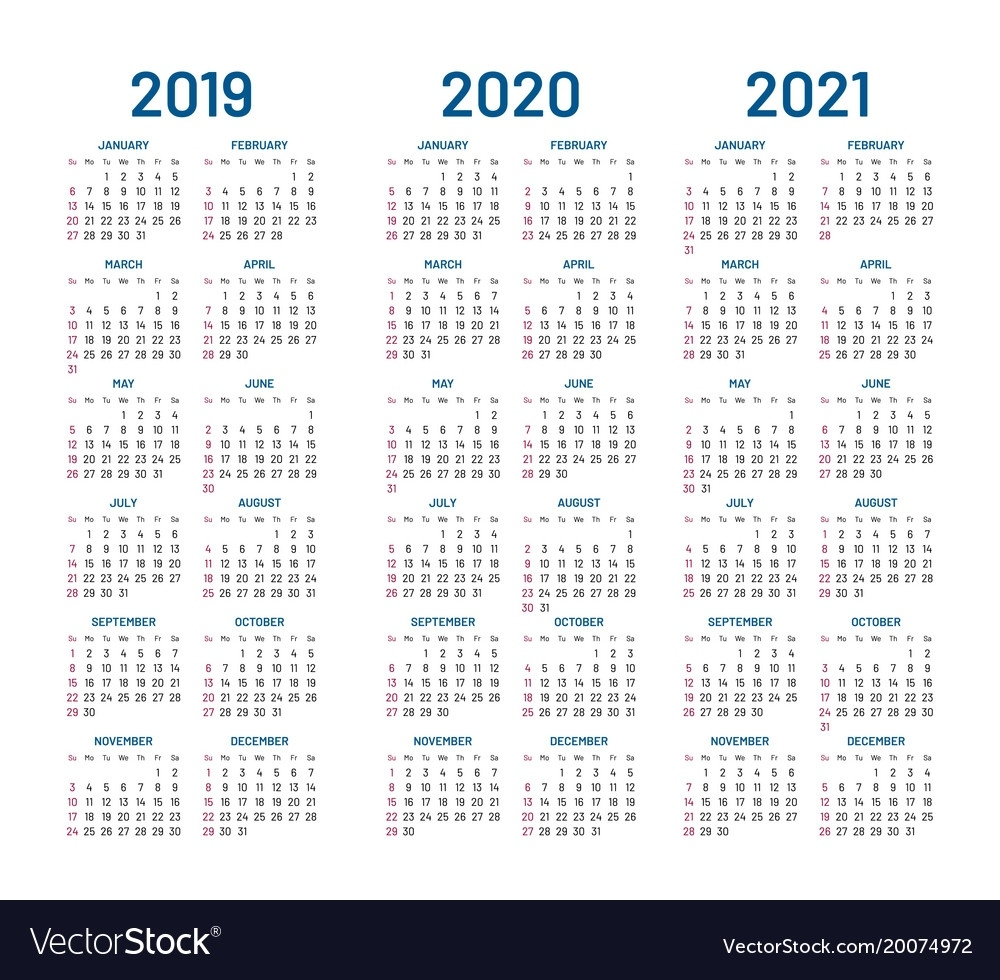 Year 2019 2020 2021 Calendar 2 Year Calendar 2020 And 2021