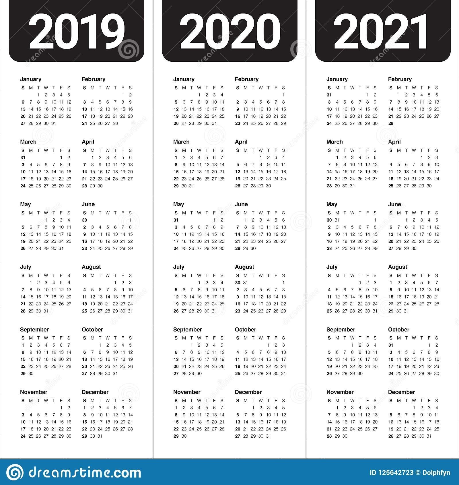 Year 2019 2020 2021 Calendar Vector Design Template Stock 2 Year Calendar 2020 And 2021