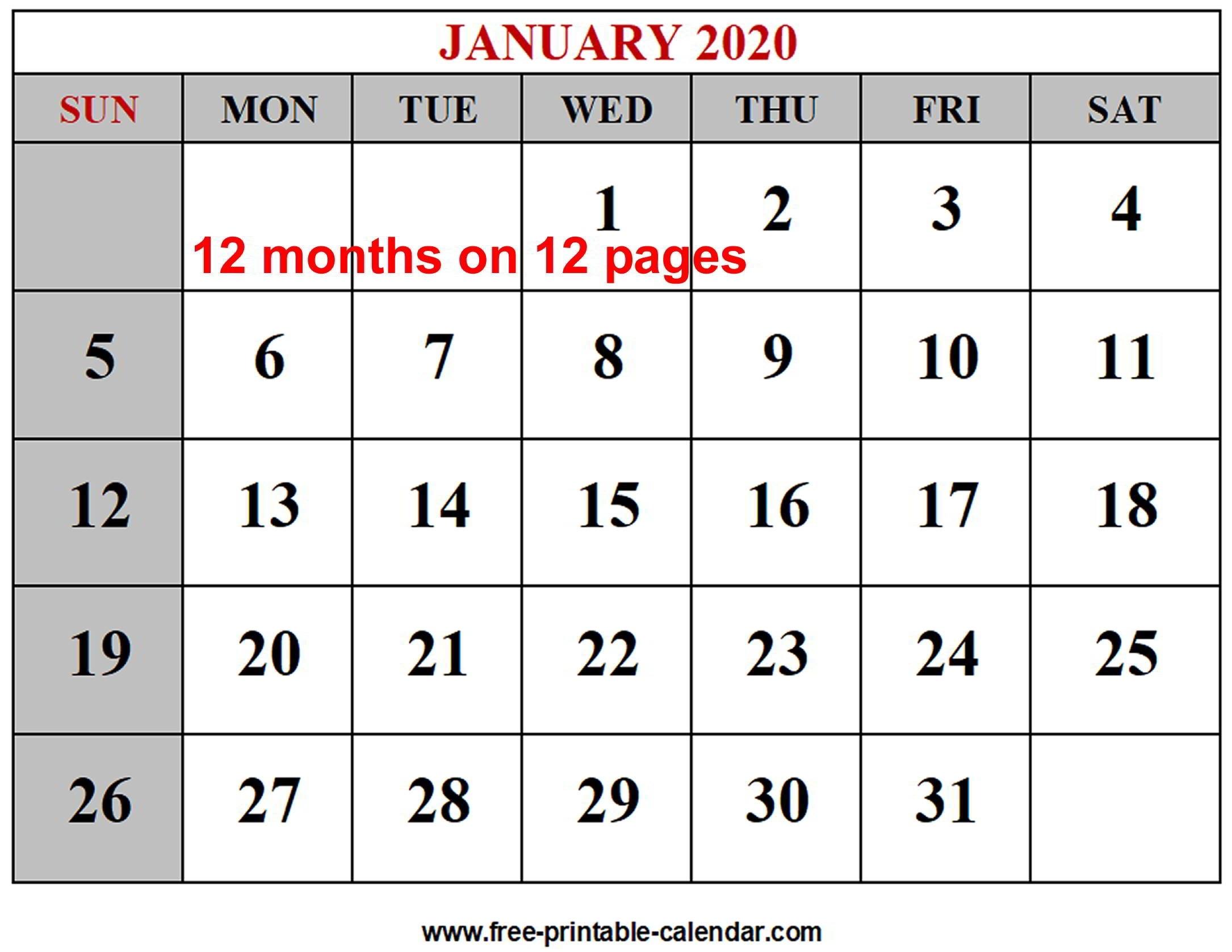Year 2020 Calendar Templates - Free-Printable-Calendar Incredible Free 2 Page Monthly Calendar Templates 2020
