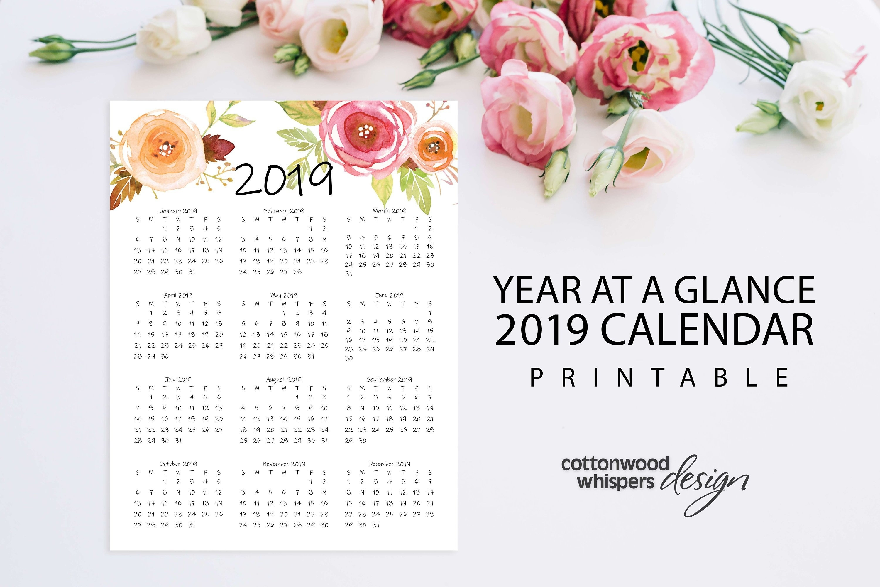 """Year At A Glance Calendar 2019 