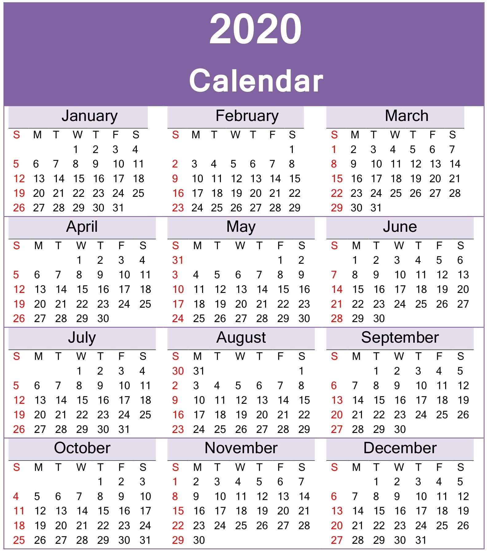Yearly 2020 Calendar Excel Template - Latest Printable 2020 Calendar One Page