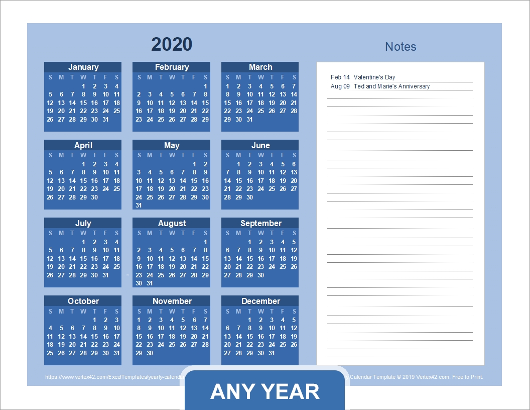Yearly Calendar Template For 2020 And Beyond 2020 Calendar With Holidays By Vertex42