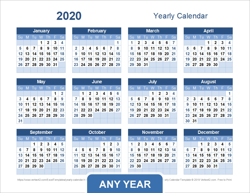 Yearly Calendar Template For 2020 And Beyond Remarkable 2020 Calendar With Holidays By Vertex42