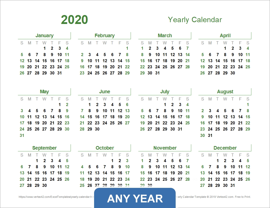 Yearly Calendar Template For 2020 And Beyond Remarkable Vertex42 Calendar Template For Excel