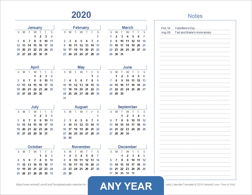 Yearly Calendar Template For 2020 And Beyond Vertex42 Calendar Template For Excel