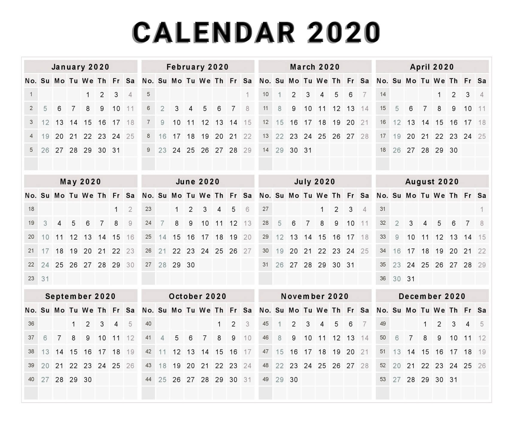 Yearly Calendar With Notes 2020 Pdf - 2019 Calendars For Year 2020 Calender - South Africa